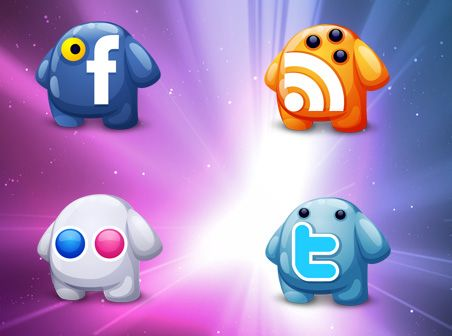This adorable social creatures icon set is free for personal non-commercial use by fasticon #social #media #icon #vector #free