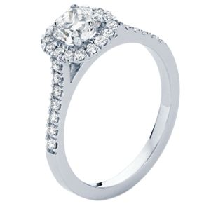 The 'Rosetta' featuring a 0.76ct cushion cut diamond surrounded by small round brilliant diamonds