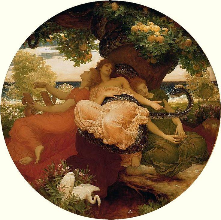 В саду Гесперид - картина Фредерика Лейтона, 1892 год - http://to-name.ru/mifologia/heracles/in-garden-hesperides-frederic-leighton.htm