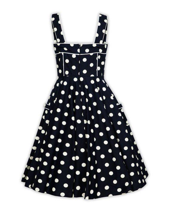 Plus Size Black Polka Dot Dress Vintage Dress Summer Dress Pinup Dress 50s  Party Dress Retro Swing D 369cd97cd