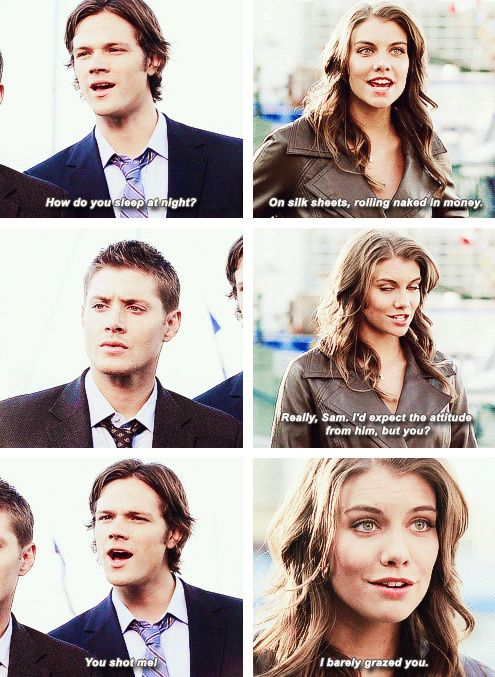 Bela with Sam and Dean   Supernatural quote (love Dean's facial response!)