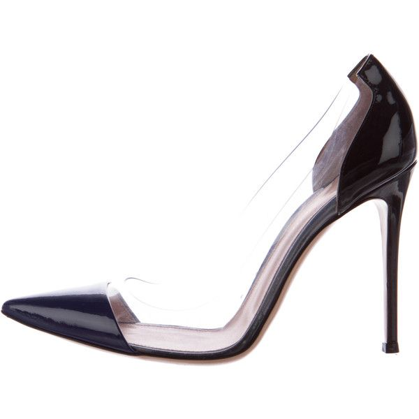 Pre-owned Gianvito Rossi PVC-Trimmed Cap-Toe Pumps (£290) ❤ liked on Polyvore featuring shoes, pumps, clear, blue patent leather pumps, blue patent pumps, blue shoes, blue pumps and black patent leather shoes