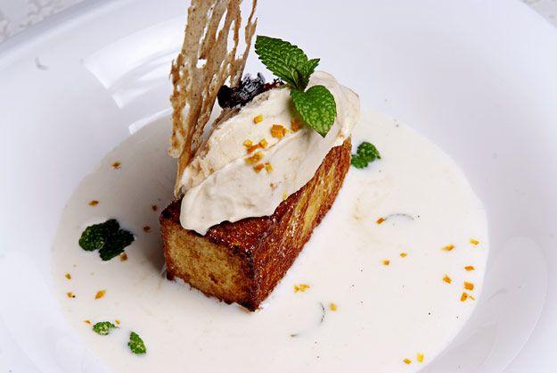 Como hacer #torrijas - #Receta de torrijas de vainilla y nata caramelizadas con crema de arroz con leche, helado y crujiente de caramelo