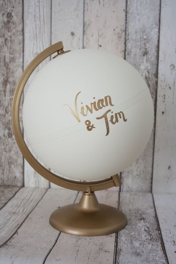 Wedding Guestbook Alternative Globe White and Gold | Choice of Colours | Personalised Lettering | Gold Stand | Hand Painted | Wedding Decor