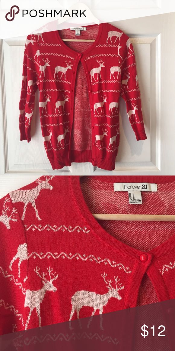 BRAND NEW || Raindeer Christmas Cardigan Never worn!! Such a cute but subtle way to be Christmasy or dress it up for a tacky Christmas party!! Forever 21 Sweaters Cardigans