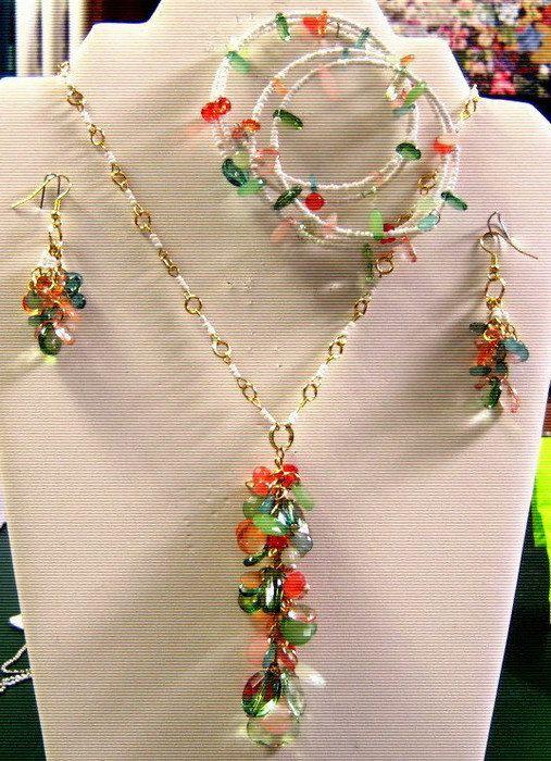Necklace Set WhiteGreenPeachOrange and Gold by SunCreations