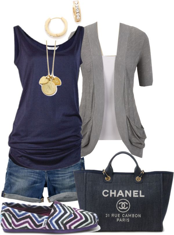 -Blue & Gray-you can do this too - navy drape tee, t- shirt topper & Lou Lou shorts! (I LOVE THE BAG)