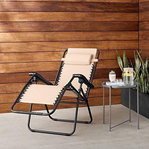 Zero Gravity Chair For Outdoor Garden Patio Back Yard Pool Relax Chair Beige NEW #ZeroGravityChairForOutdoor