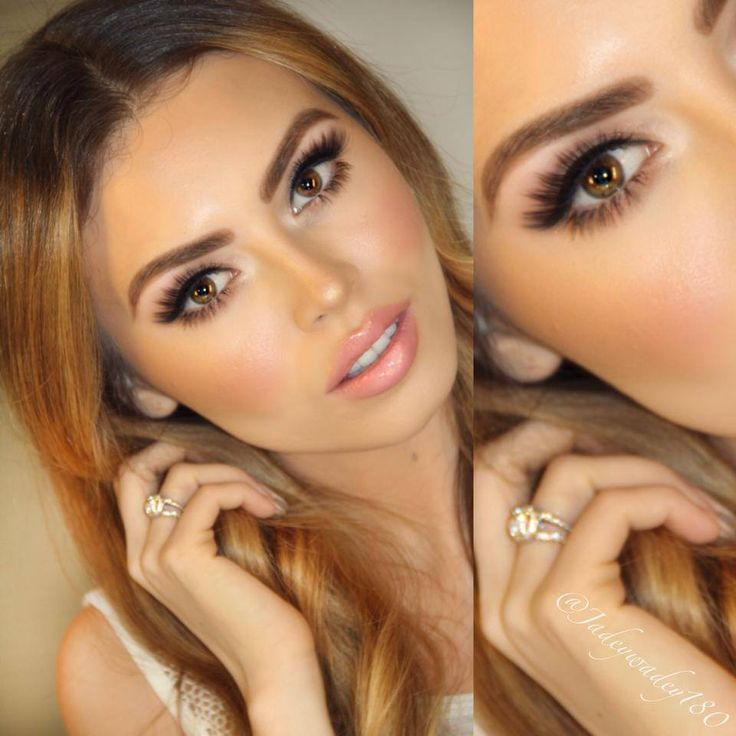 Makeup! Dark Eyes, peach gold lip color