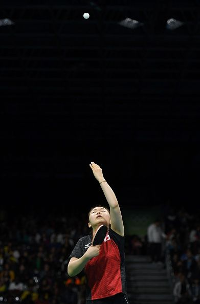 #RIO2016 Japan's Ai Fukuhara serves against North Korea's Kim Song I in their women's singles bronze medal table tennis match at the Riocentro venue during...