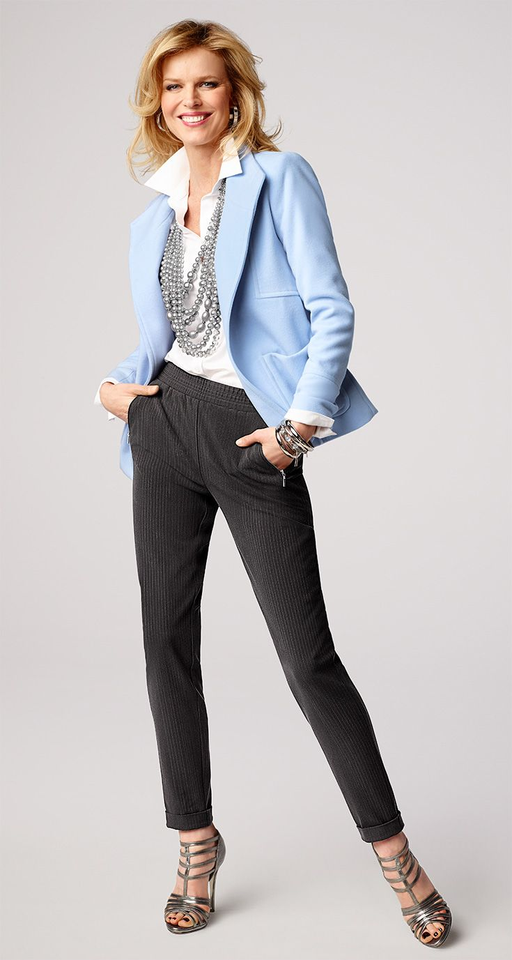 You can wear pastel in fall. Team our plush jacket with basic black and white for a fresh take on baby blue.