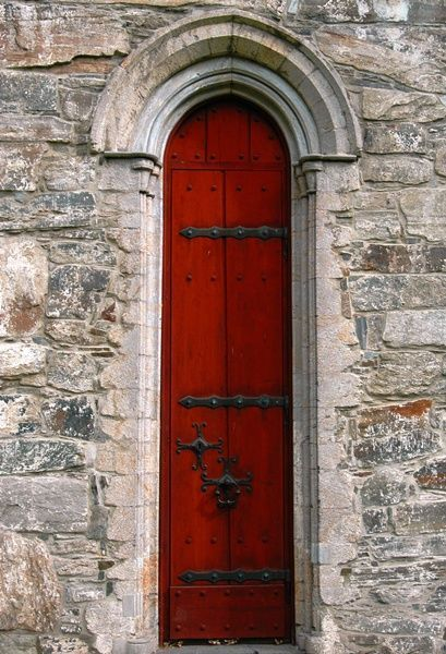 Tall skinny red door