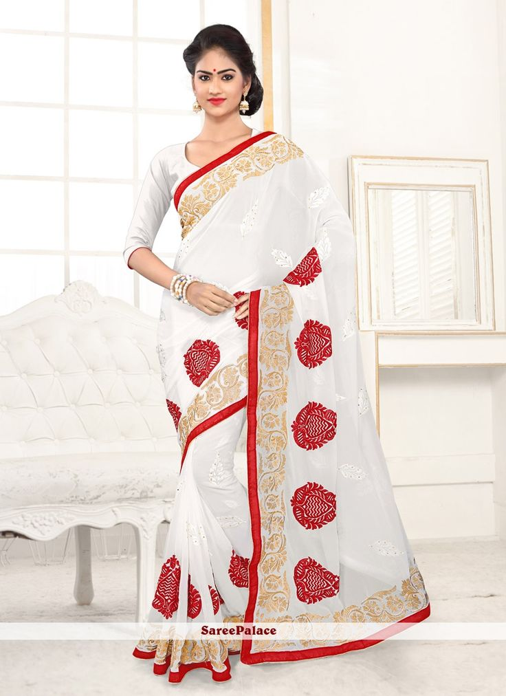 Charismatic Off White Faux Georgette Embroidered Saree