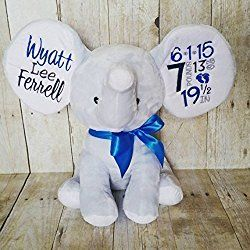 Personalized Elephant Embroidered With Birth facts or Personalized Baby Cubbies Brand© Your choice of color Elephant, Embroidery color, Font style, and Ribbon Color!