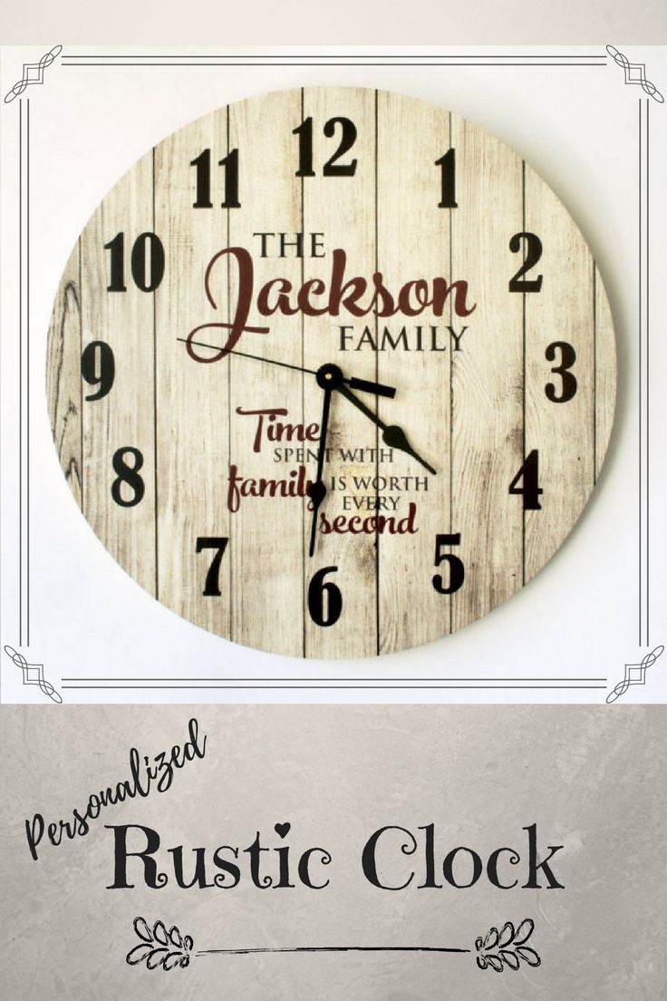 Best 25 personalized clocks ideas on pinterest wall clock decor personalized rustic clock 18 inch diameter the custom design is printed directly on the face amipublicfo Gallery