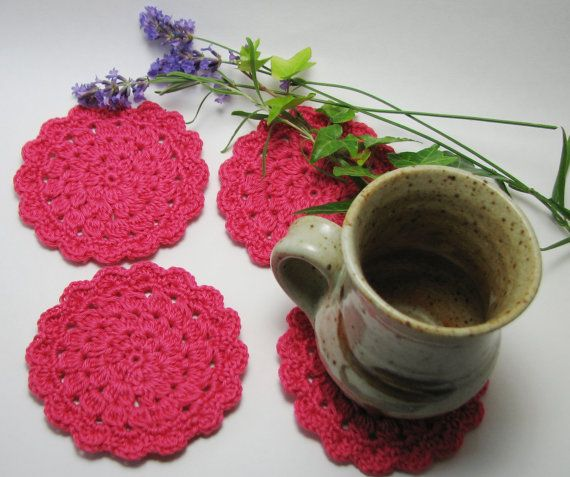 Pink Crochet Coaster Glass Coaster Crochet Doily by TheYarnShack
