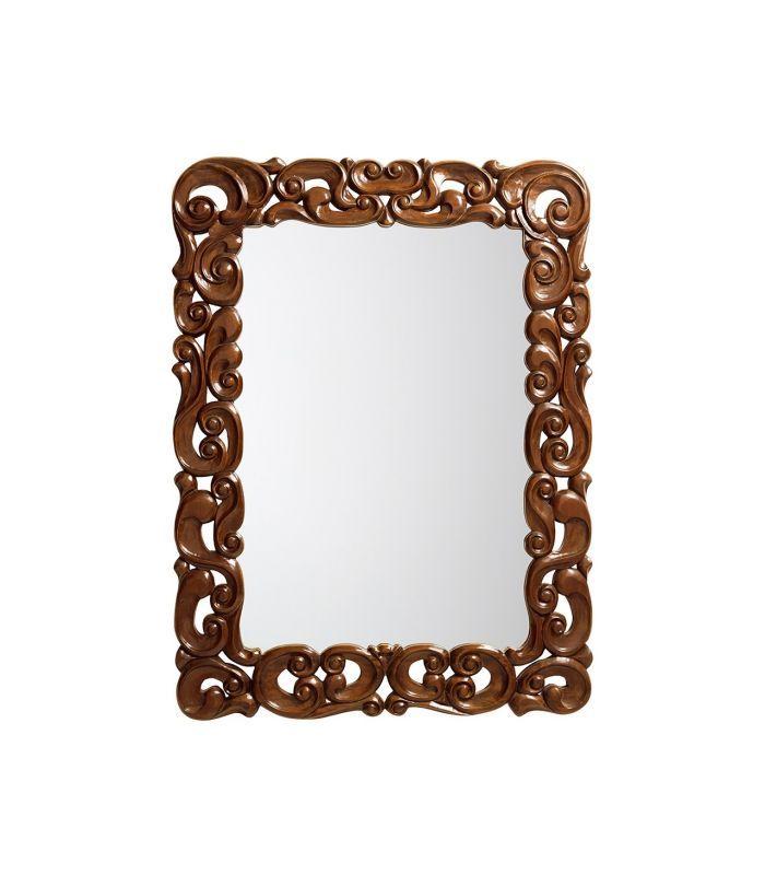 espelho com moldura de madeira entalhada. 120x90 cm
