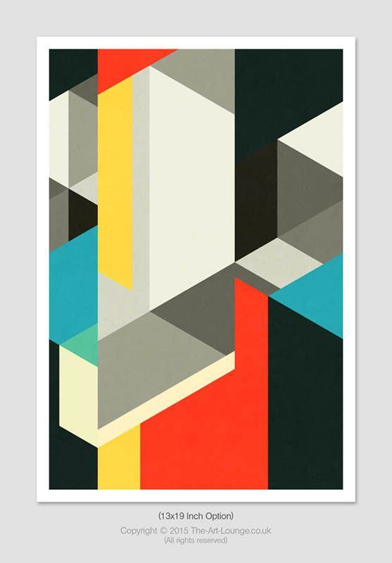 Architectural Elements Print – This striking graphic design uses a modernist style, creating architectural forms with bold block colours. This