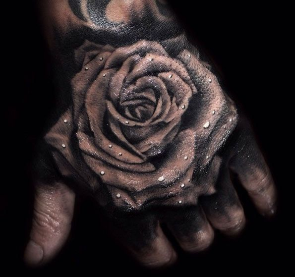 Rose Tattoo on Hand by Todd Bailey