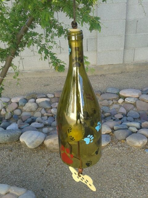 Large recycled wine bottle chime has multi colored hand painted dog paws. This big dog paw chime will look super any where you hang it. by WaggyPawChimes on Etsy