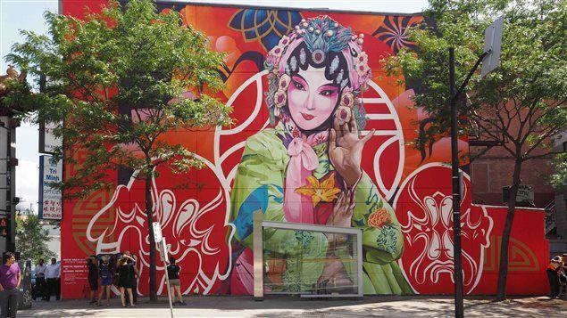 Nouvelle murale dans le Quartier chinois de Montréal