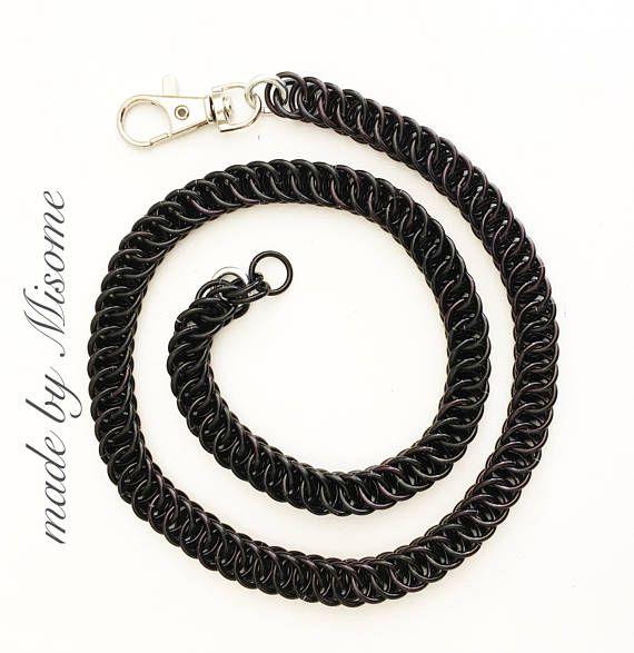 Chainmail zwarte portemonnee ketting in het half Perzisch