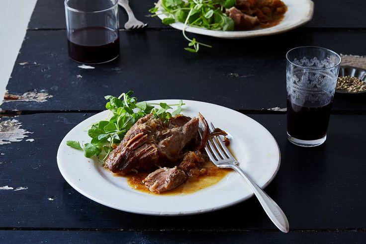 Cider-Braised Pork Shoulder with Caramelized Onion and Apple Confit