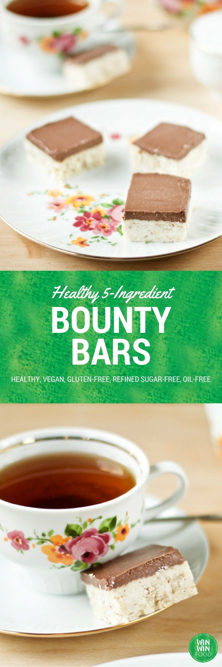 Healthy Bounty Bars | WIN-WINFOOD.com This quick & easy treat call for just…