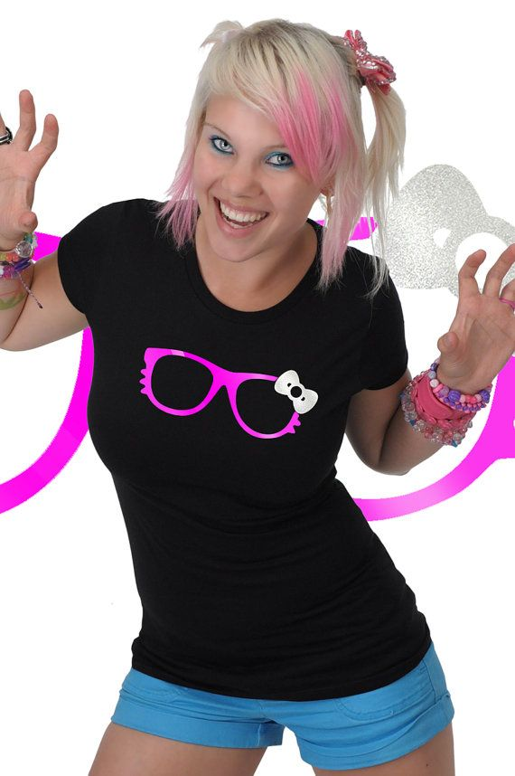 $19.95 Kitty Bow Glasses Rave T-shirt