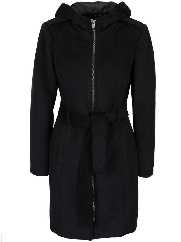 Palton negru Vero Moda Fedora cu glugă  - Vero Moda
