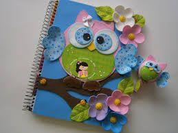 cadernos decorados com eva