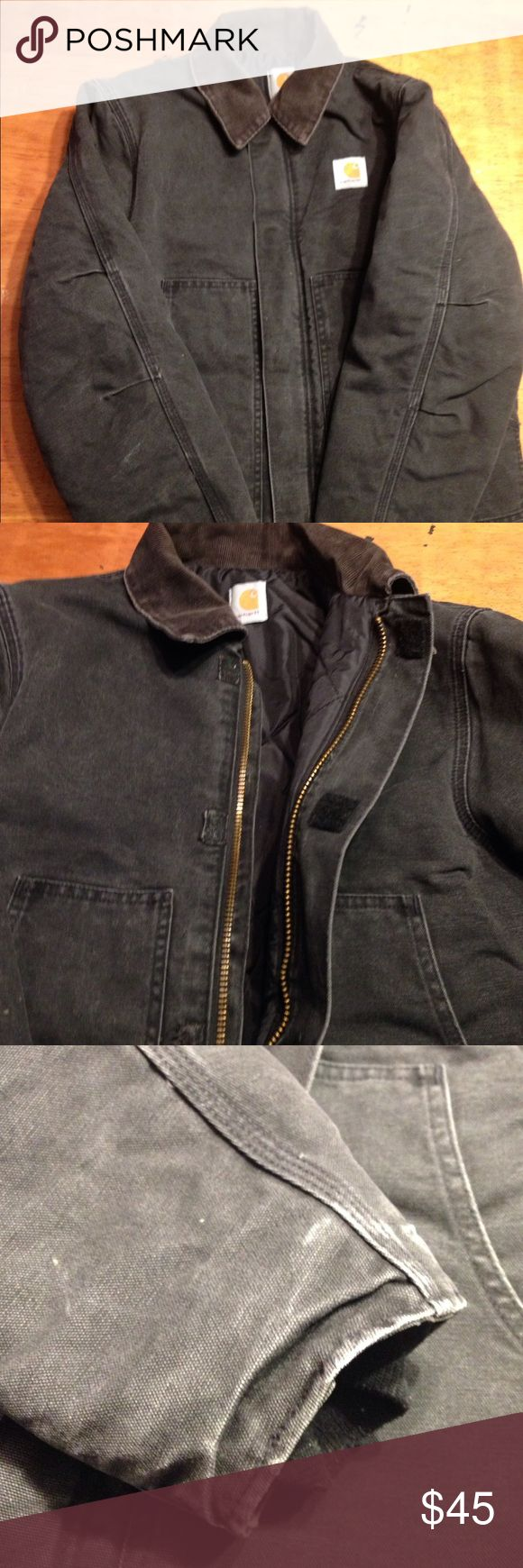 Carhartt canvas coat Well worn and faded... but in very good condition with lots of wear left. Hard working coat! No stains or rip.quilted lining. No size inside. Men's small or women's medium FINAL SALE Carhartt Jackets & Coats