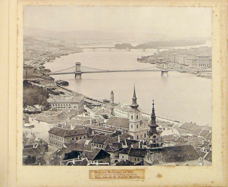 Budapest during the 1890s. Chainbridge in the background, in the front Taban with its churches.