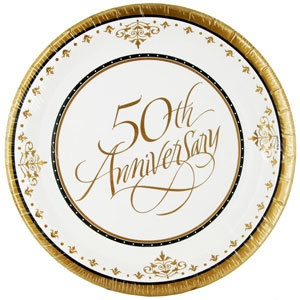 50th Golden Wedding Anniversary Party Supplies And Decorations Plates Cups
