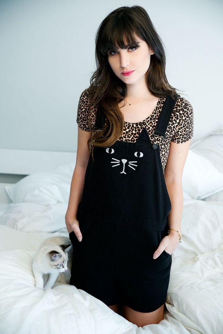 kitty pinafore with animal print t-shirt