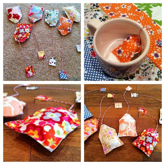 sewn tea set | sewn fabric tea bag for children's tea sets by circlestreet