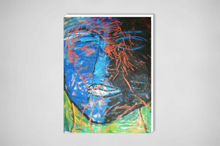 "Saatchi Online Artist: Alessandro Costantino; Oil 2010 Painting ""Viso rosso su viso blu"""