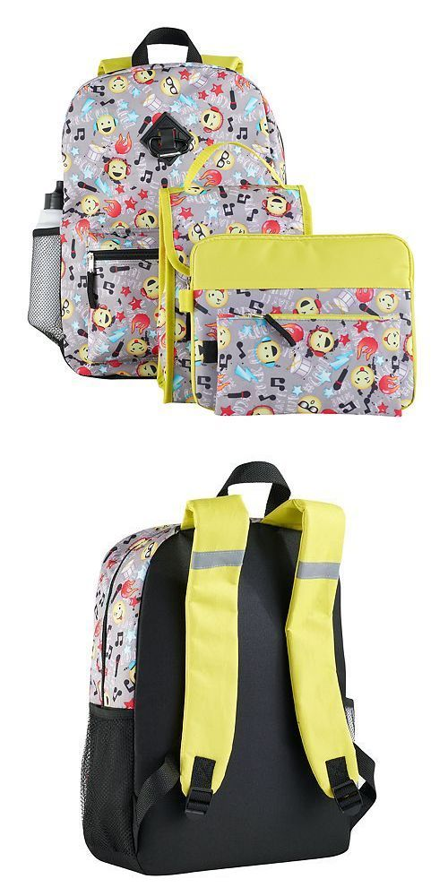 Backpacks 57917: 6 Pc Emoji W Music Backpack Lunch Bag Pencil And Tablet Case Water Bottle Clip Nwt -> BUY IT NOW ONLY: $32.99 on eBay!