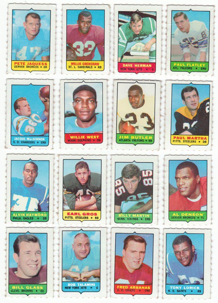 1969 topps football 4in1 mini card lot of 70 singles