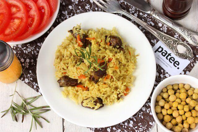 Рис с белыми грибами и куриными сердечками в мультиварке