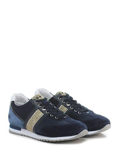 LA MARTINA - Sneakers - Uomo - Sneaker in camoscio e tessuto tecnico con applicazioni su ambo i lati e suola in gomma. Tacco 25, platform 15 con battuta 10. - BLU\AZZURRO - € 159.00