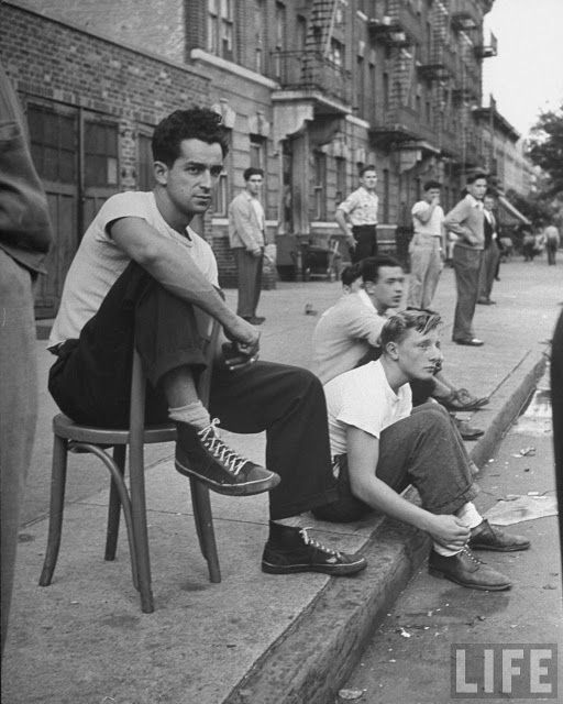 "Brooklyn, 1950's. The exciting ""bad"" boys dressed like this, after school. They looked a heck of a lot better than the boys today with their saggy pants and underwear showing."