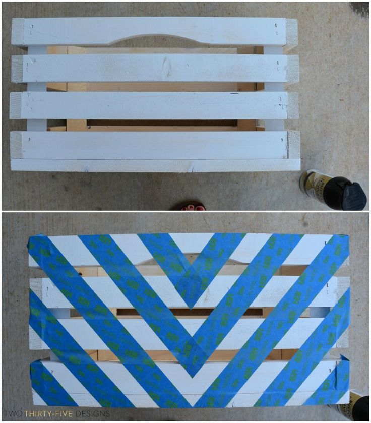 Black and white painted crate tutorial black black and for Painted crate ideas