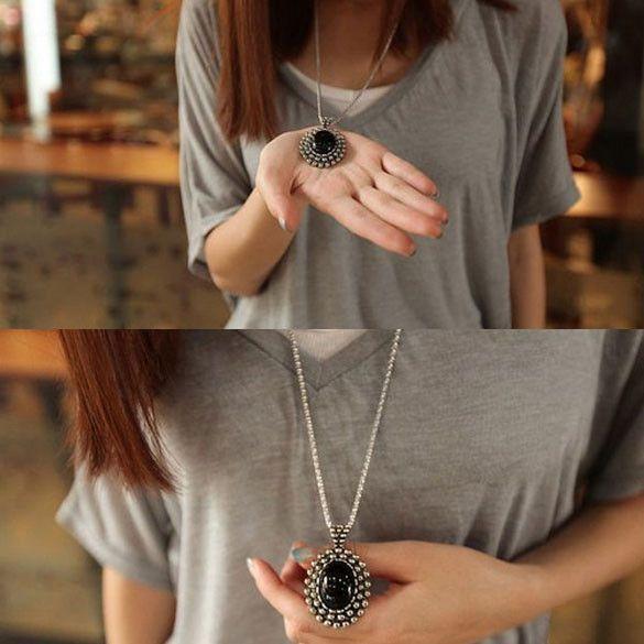 Women's Retro Silver Ellipse Black Jewelry Girls Long Sweater Oval Pendant Necklace