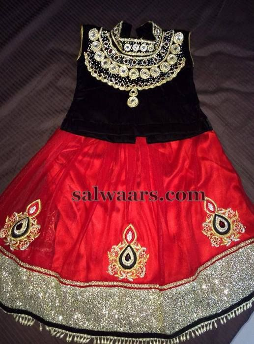 Red Lehenga High Neck Blouse - Indian Dresses