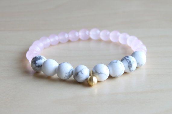 Howlite and Rose Quartz bracelet/ mala by HandsLoveJewelry on Etsy
