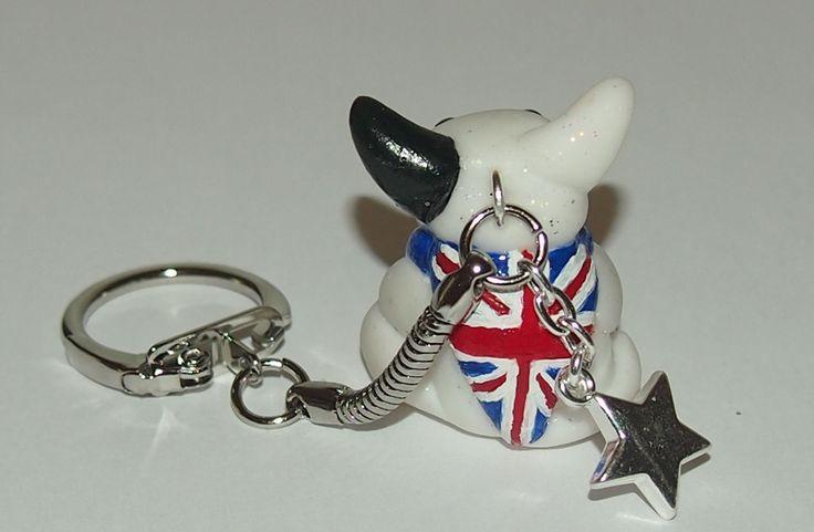 Union Jack Bull Terrier key chain