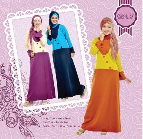 #Gamis #aksen resleting dan warna yang cantik
