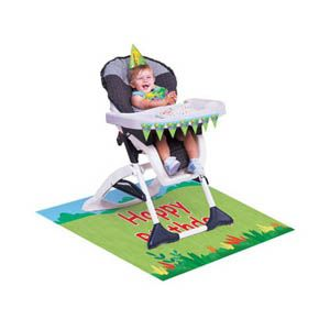 20995945 - Jungle Buddies High Chair Kit Jungle Buddies High Chair Kit, Contains 1 Mini Plastic Flag Banner (78.74cm Long), 1 x Plastic Floor Mat (121.92cm x 76.2cm) and 1 x Plastic Bib (HAT IN IMAGE NOT INCLUDED) Please note: approx. 14 day delivery time.
