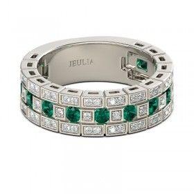 Jeulia Romance - Fedina Italian style in Argento 925 placcato in rodio con Smeraldo